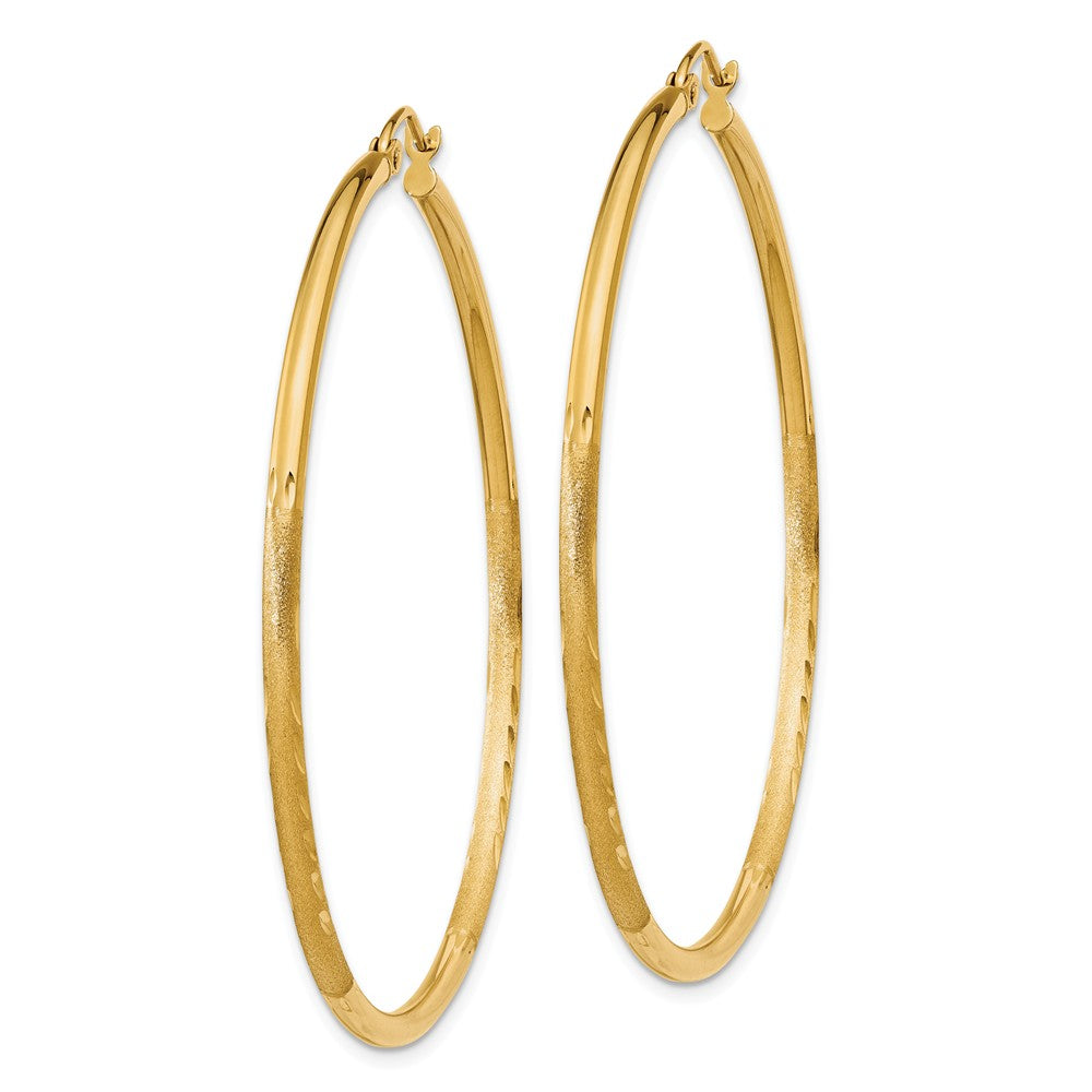 Alternate view of the 2mm x 50mm 14k Yellow Gold Satin & Diamond-Cut Round Hoop Earrings by The Black Bow Jewelry Co.