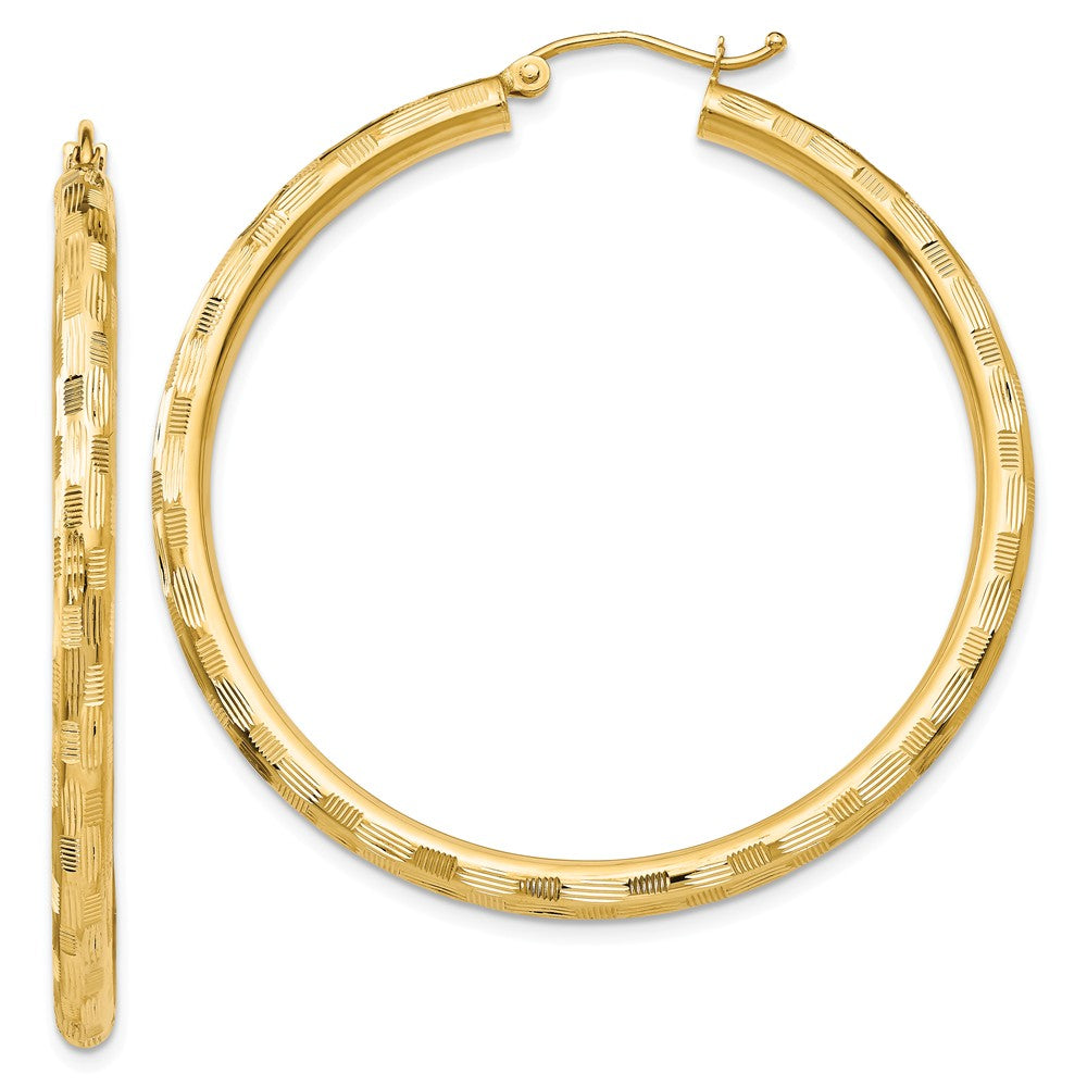 3mm x 45mm 14k Yellow Gold Textured Round Hoop Earrings, Item E13401 by The Black Bow Jewelry Co.