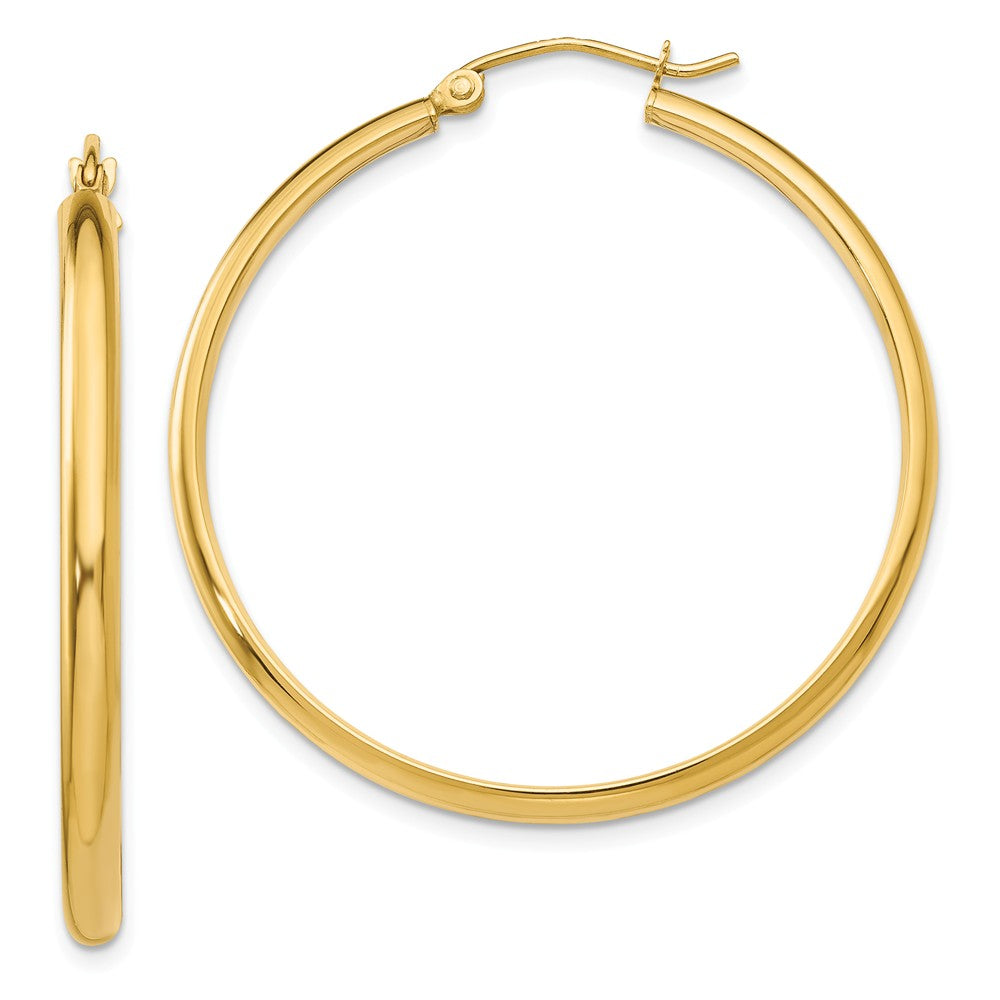 2.75mm x 37mm Polished 14k Yellow Gold Domed Round Hoop Earrings, Item E13418 by The Black Bow Jewelry Co.
