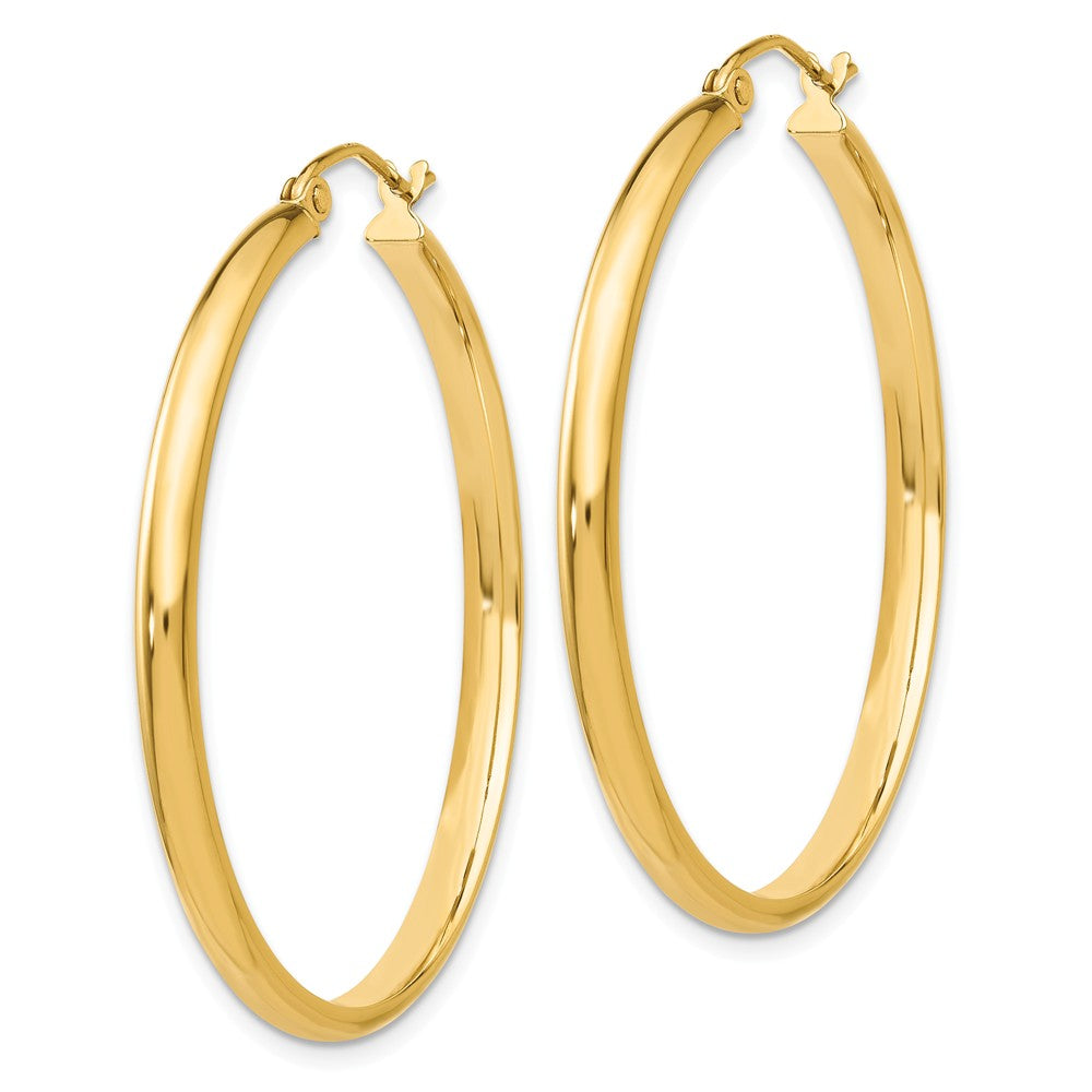 Alternate view of the 2.75mm x 37mm Polished 14k Yellow Gold Domed Round Hoop Earrings by The Black Bow Jewelry Co.