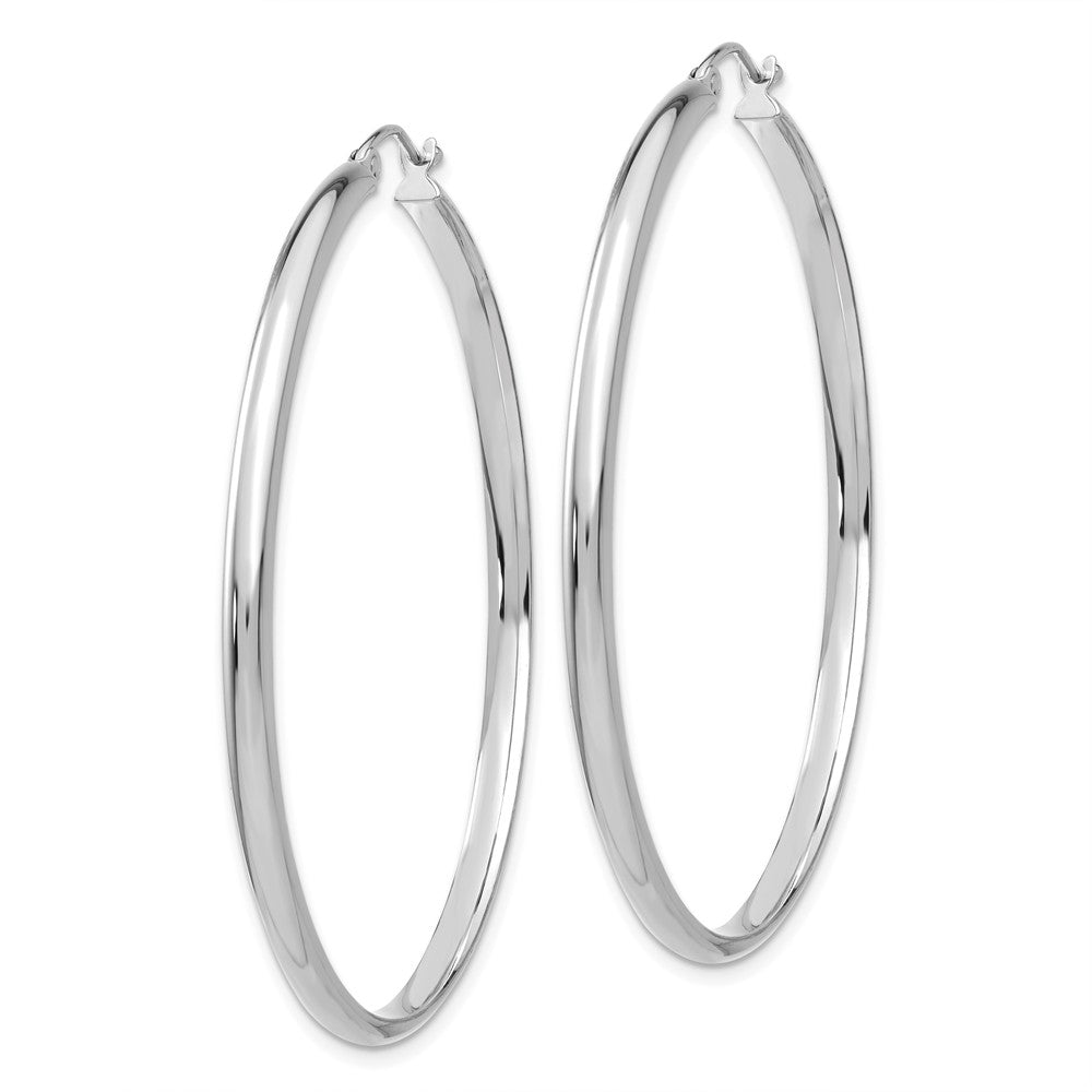 Alternate view of the 2.75mm x 50mm Polished 14k White Gold Domed Round Hoop Earrings by The Black Bow Jewelry Co.