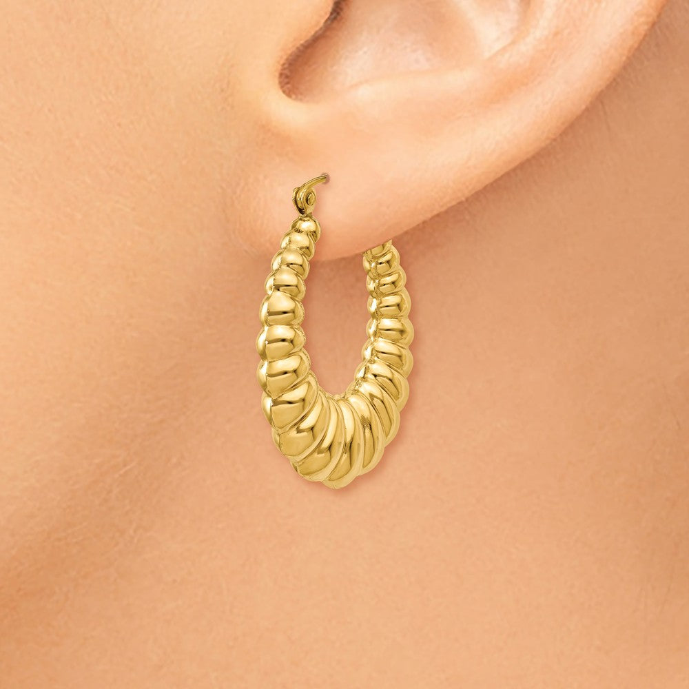 Alternate view of the 5mm x 29mm Polished 14k Yellow Gold Hollow Oval Shrimp Hoop Earrings by The Black Bow Jewelry Co.