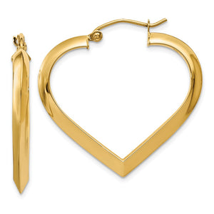 3mm x 28mm Polished 14k Yellow Gold Knife Edge Heart Hoop Earrings - The Black Bow Jewelry Co.