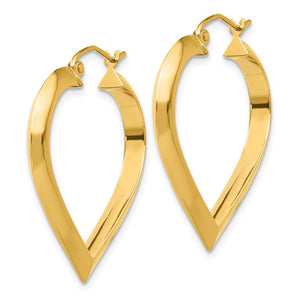 Alternate view of the 3mm x 28mm Polished 14k Yellow Gold Knife Edge Heart Hoop Earrings by The Black Bow Jewelry Co.