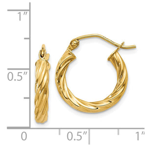 Alternate view of the 2.75mm x 15mm Polished 14k Yellow Gold Twisted Round Hoop Earrings by The Black Bow Jewelry Co.