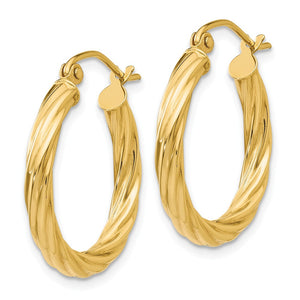 Alternate view of the 3.25mm x 20mm Polished 14k Yellow Gold Twisted Round Hoop Earrings by The Black Bow Jewelry Co.