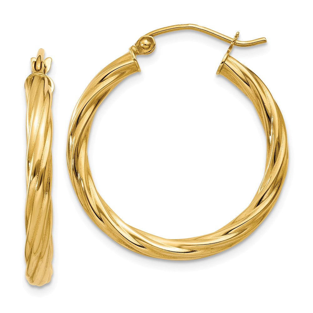 3.25mm x 26mm Polished 14k Yellow Gold Twisted Round Hoop Earrings, Item E13483 by The Black Bow Jewelry Co.