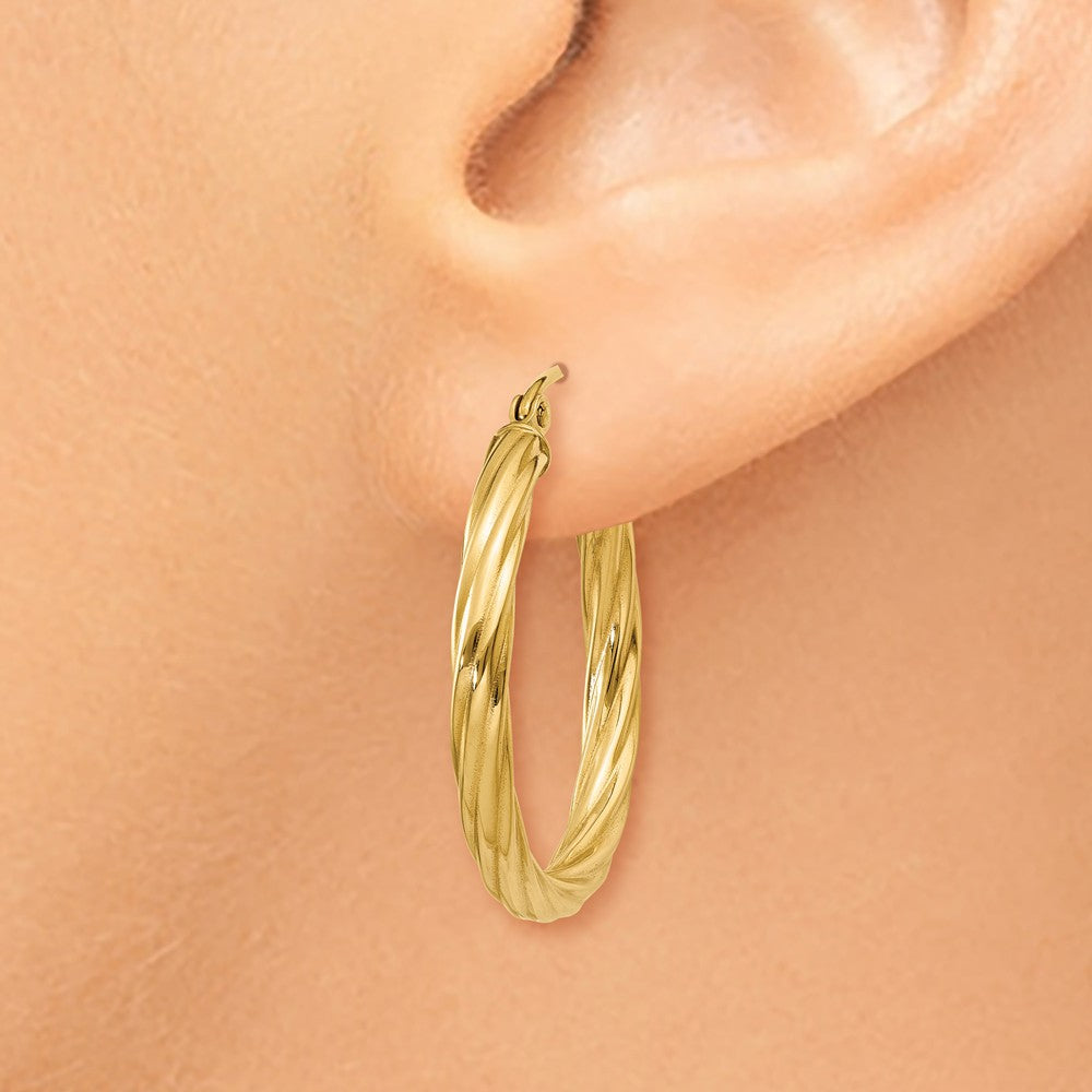 Alternate view of the 3.25mm x 26mm Polished 14k Yellow Gold Twisted Round Hoop Earrings by The Black Bow Jewelry Co.