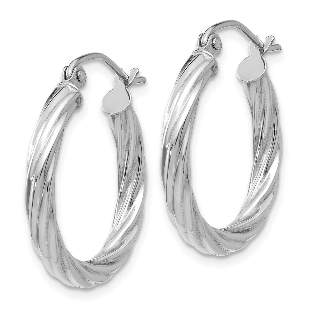 Alternate view of the 3.25mm x 20mm Polished 14k White Gold Twisted Round Hoop Earrings by The Black Bow Jewelry Co.