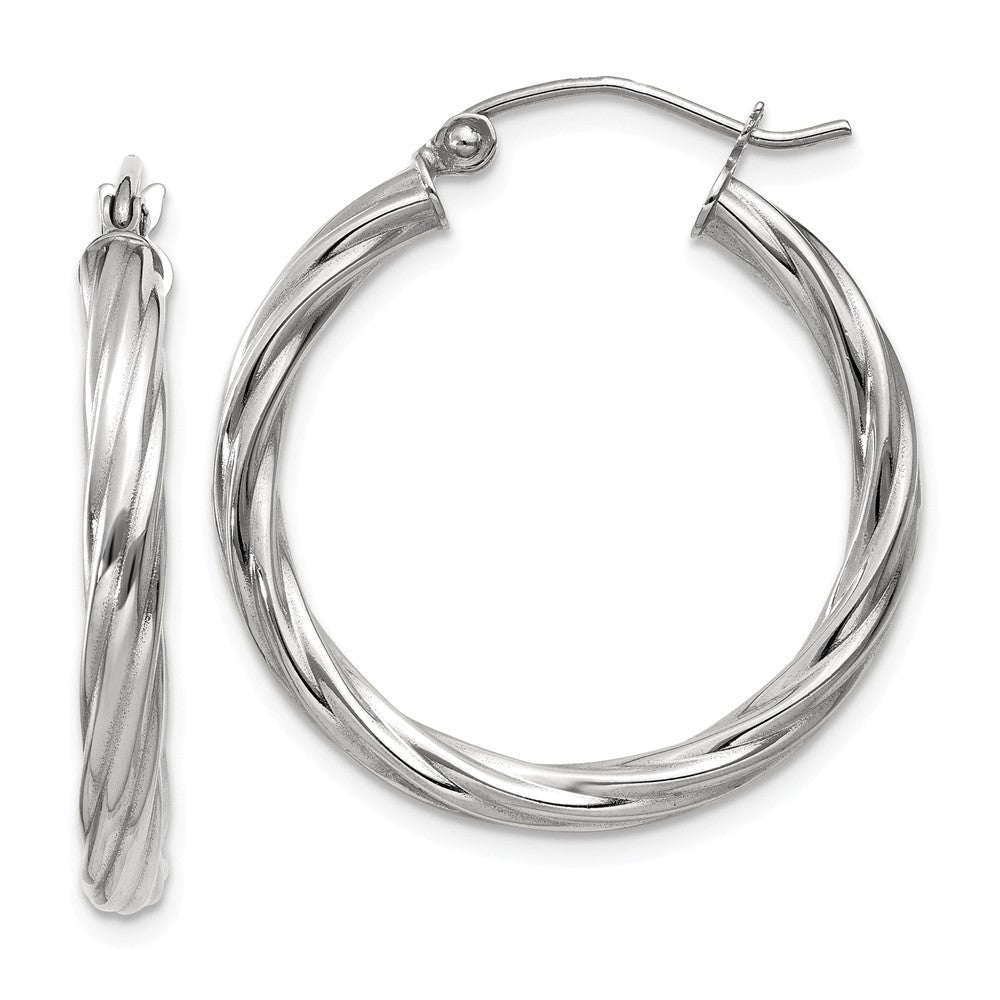3.25mm x 26mm Polished 14k White Gold Twisted Round Hoop Earrings, Item E13486 by The Black Bow Jewelry Co.