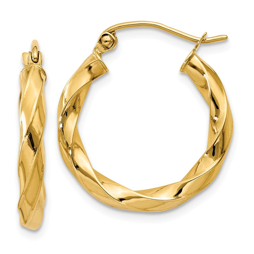 3mm x 22mm Polished 14k Yellow Gold Medium Twisted Round Hoop Earrings, Item E13496 by The Black Bow Jewelry Co.