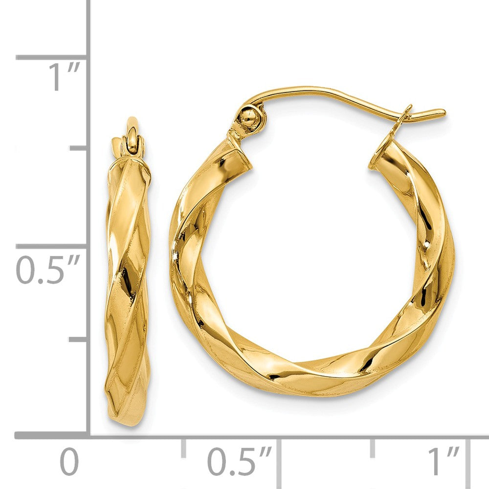 Alternate view of the 3mm x 22mm Polished 14k Yellow Gold Medium Twisted Round Hoop Earrings by The Black Bow Jewelry Co.