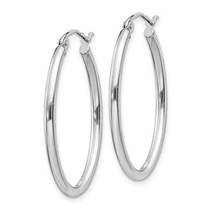 Alternate view of the 2mm x 30mm Polished 14k White Gold Classic Oval Tube Hoop Earrings by The Black Bow Jewelry Co.