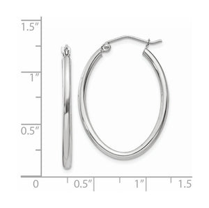 2mm x 30mm Polished 14k White Gold Classic Oval Tube Hoop Earrings
