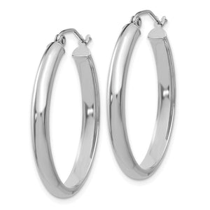 Alternate view of the 3.5mm x 32mm Polished 14k White Gold Domed Oval Hoop Earrings by The Black Bow Jewelry Co.