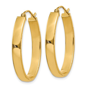 Alternate view of the 4mm x 30mm Polished 14k Yellow Gold Rectangular Tube Oval Hoops by The Black Bow Jewelry Co.