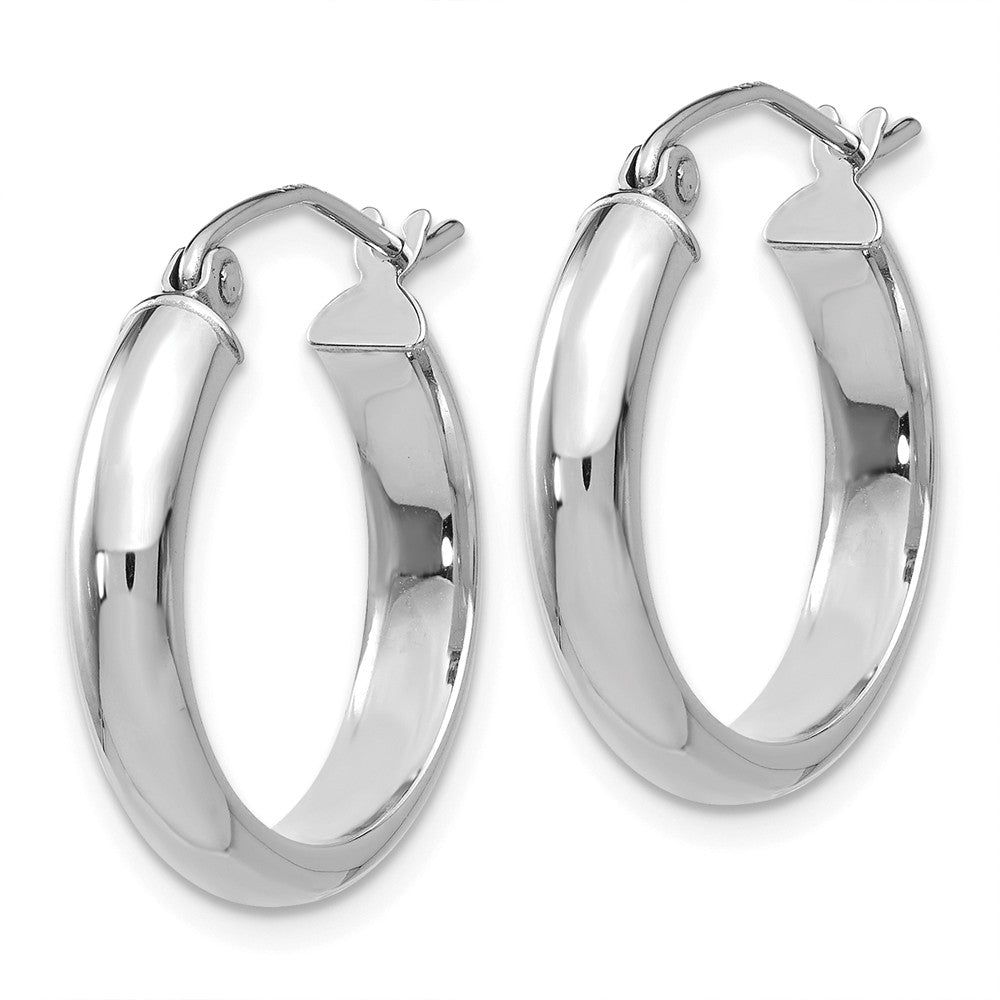Alternate view of the 3.75mm x 20mm Polished 14k White Gold Domed Round Tube Hoop Earrings by The Black Bow Jewelry Co.
