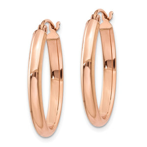 Alternate view of the 2.75mm x 25mm Polished 14k Rose Gold Domed Oval Tube Hoop Earrings by The Black Bow Jewelry Co.
