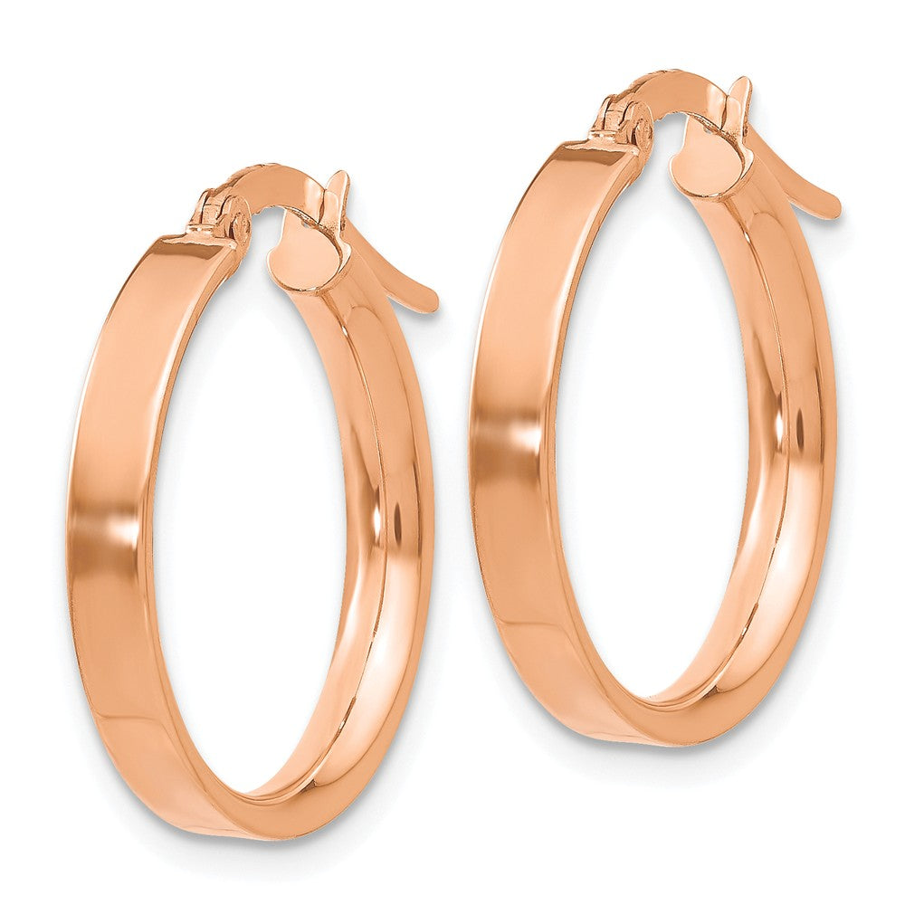 Alternate view of the 3mm x 18mm Rose Rhodium Plated 14k Yellow Gold Round Hoop Earrings by The Black Bow Jewelry Co.