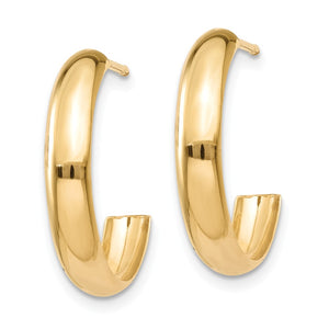 Alternate view of the 3.5mm x 17mm Polished 14k Yellow Gold Domed J-Hoop Earrings by The Black Bow Jewelry Co.