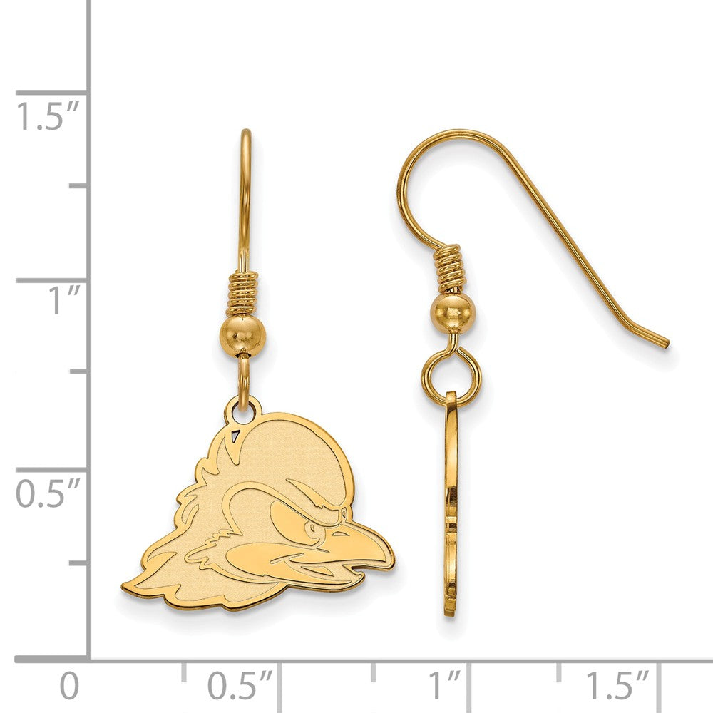 Alternate view of the NCAA 14k Gold Plated Silver University of Delaware Dangle Earrings by The Black Bow Jewelry Co.