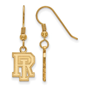 NCAA 14k Gold Plated Silver University of Rhode Island Dangle Earrings - The Black Bow Jewelry Co.