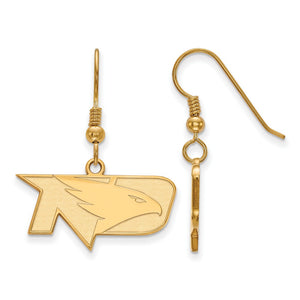 NCAA 14k Gold Plated Silver Univ. of North Dakota SM Dangle Earrings - The Black Bow Jewelry Co.
