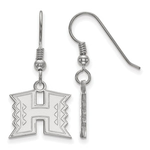 NCAA Sterling Silver The University of Hawai'i Small Dangle Earrings - The Black Bow Jewelry Co.