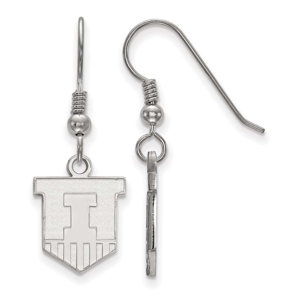 NCAA Sterling Silver University of Illinois Small Dangle Earrings, Item E14191 by The Black Bow Jewelry Co.
