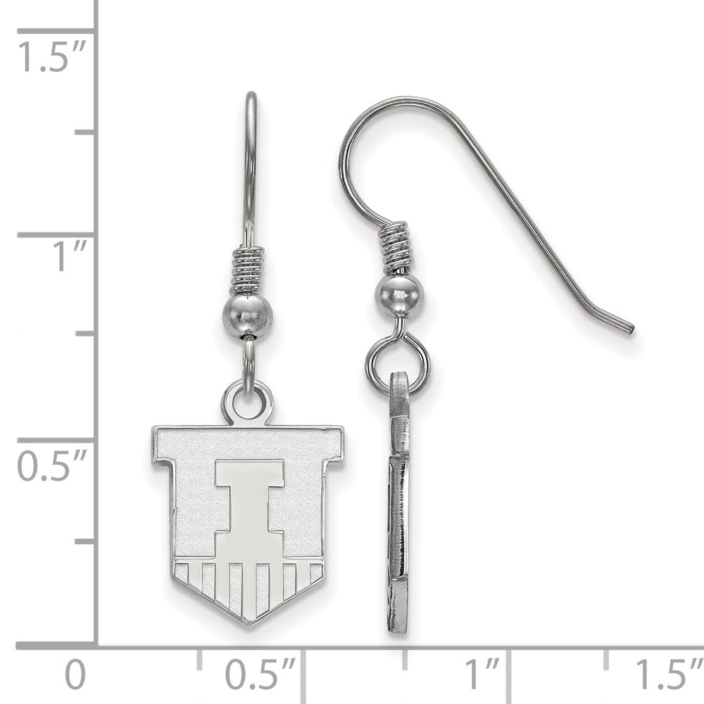 Alternate view of the NCAA Sterling Silver University of Illinois Small Dangle Earrings by The Black Bow Jewelry Co.