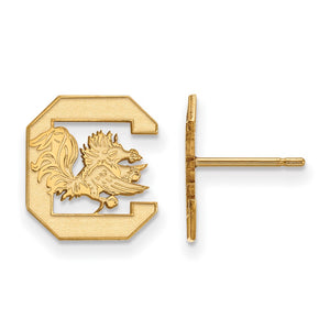 NCAA 10k Yellow Gold U of South Carolina Small Post Earrings - The Black Bow Jewelry Co.
