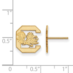 Alternate view of the NCAA 10k Yellow Gold U of South Carolina Small Post Earrings by The Black Bow Jewelry Co.