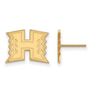 NCAA 14k Gold Plated Silver The University of Hawai'i Post Earrings - The Black Bow Jewelry Co.
