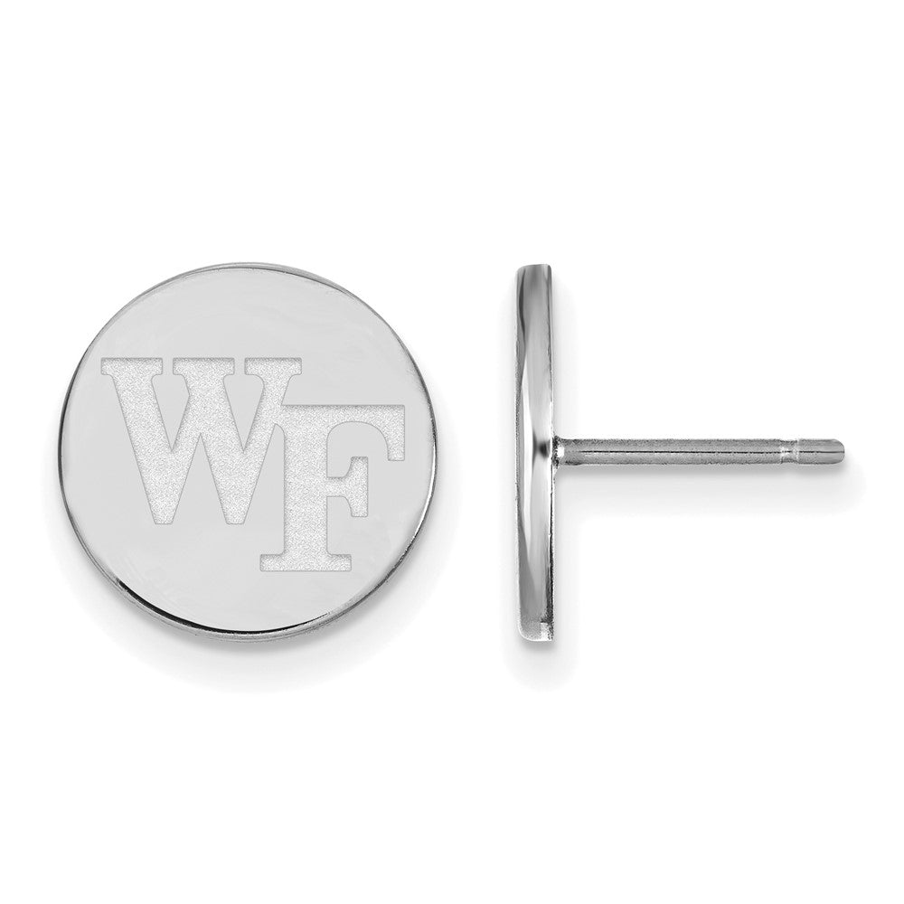 NCAA Sterling Silver Wake Forest University Small Disc Earrings, Item E15272 by The Black Bow Jewelry Co.