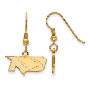 NCAA 14k Gold Plated Silver U of North Dakota XS Dangle Earrings - The Black Bow Jewelry Co.