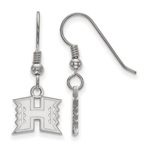 NCAA Sterling Silver The University of Hawai'i XS Dangle Earrings - The Black Bow Jewelry Co.