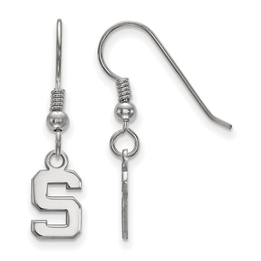 NCAA Sterling Silver Michigan State University XS Dangle Earrings, Item E15514 by The Black Bow Jewelry Co.
