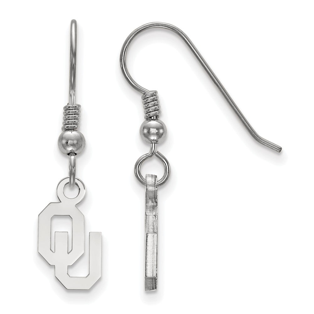 Alternate view of the NCAA Sterling Silver University of Oklahoma XS Dangle Earrings by The Black Bow Jewelry Co.