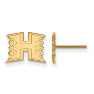 NCAA 10k Yellow Gold The University of Hawai'i XS Post Earrings - The Black Bow Jewelry Co.