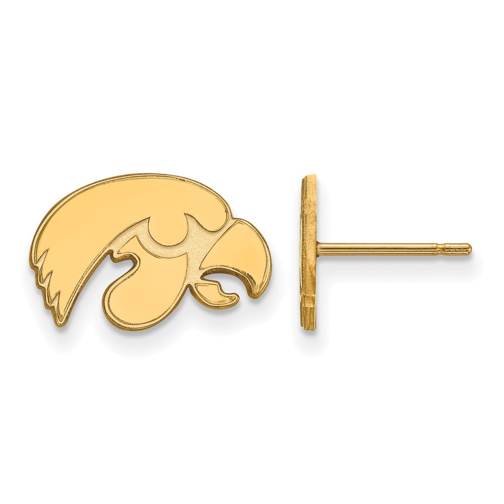 NCAA 14k Gold Plated Silver Univ. of Iowa XS Post Earrings, Item E16161 by The Black Bow Jewelry Co.