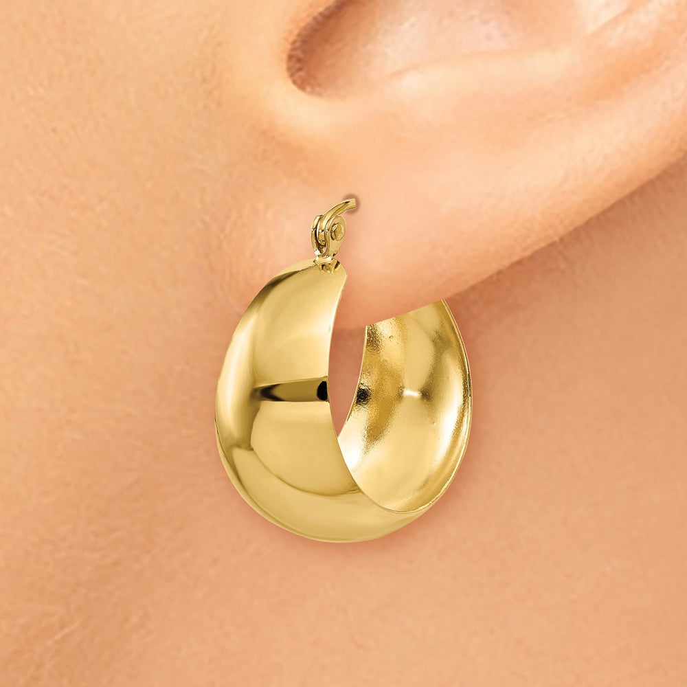Alternate view of the 14k Yellow Gold Wide Tapered Round Hoop Earrings, 14mm (9/16 Inch) by The Black Bow Jewelry Co.