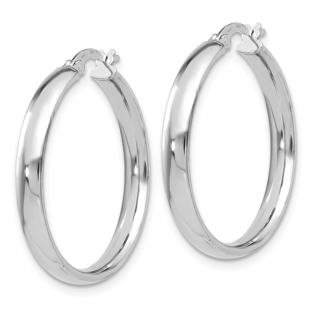 Alternate view of the 4mm x 29mm (1 1/8 Inch) 14k White Gold Domed Round Tube Hoop Earrings by The Black Bow Jewelry Co.