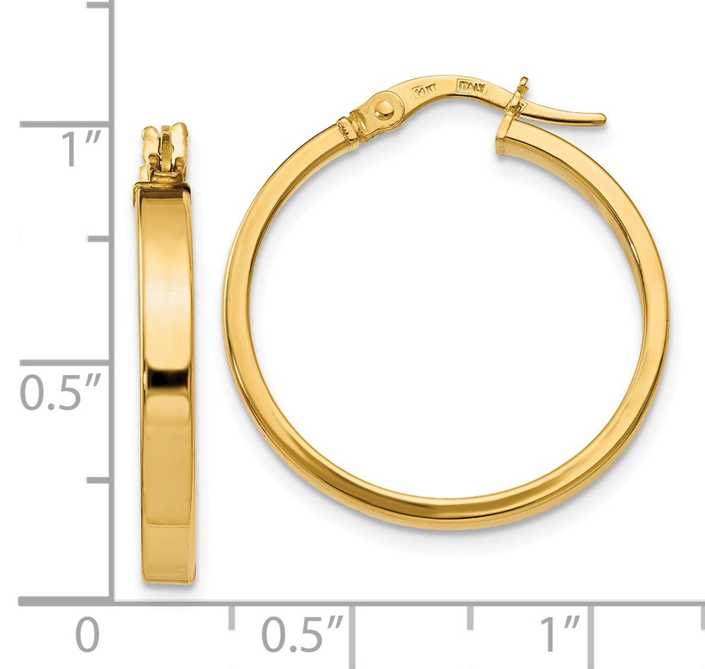 Alternate view of the 3mm x 22mm (7/8 Inch) Polished 14k Yellow Gold Flat Edge Round Hoops by The Black Bow Jewelry Co.