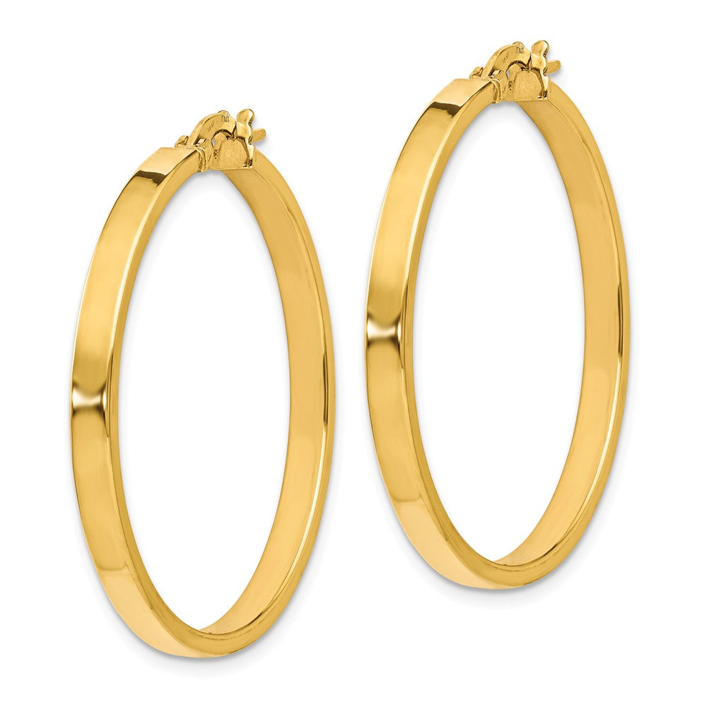 Alternate view of the 3mm x 34mm(1 5/16 Inch) Polished 14k Yellow Gold Flat Edge Round Hoops by The Black Bow Jewelry Co.