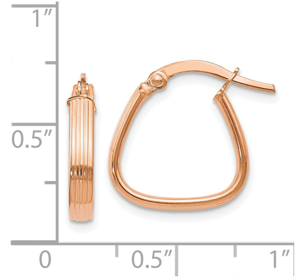 Alternate view of the 3mm x 17mm (5/8 Inch) 14k Rose Gold Textured Triangular Hoop Earrings by The Black Bow Jewelry Co.