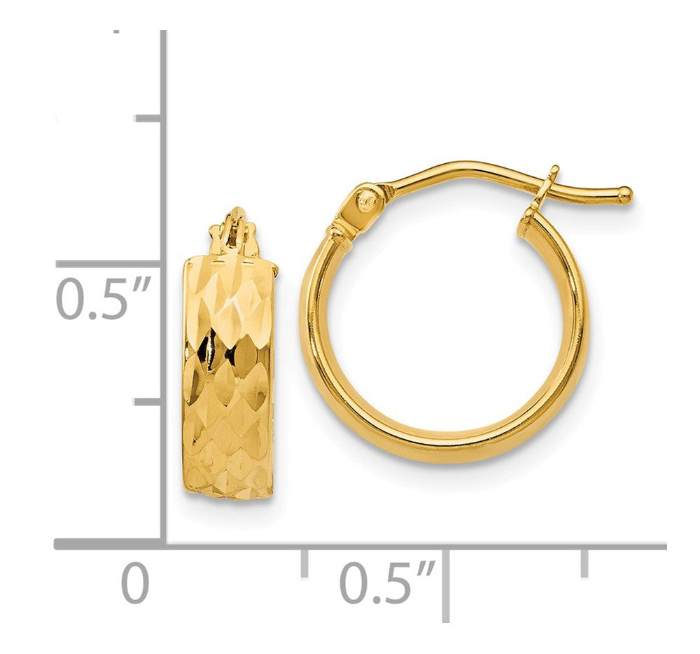 Alternate view of the 4.4mm x 13mm (1/2 Inch) 14k Yellow Gold Diamond-Cut and Polished Hoops by The Black Bow Jewelry Co.