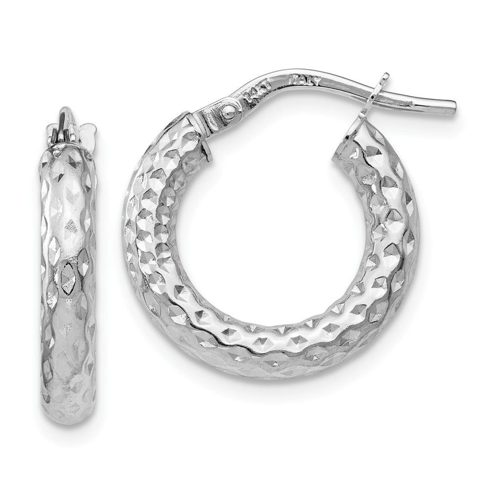 3mm x 16mm(5/8 Inch) Polished & Diamond-Cut 14k White Gold Round Hoops, Item E16508 by The Black Bow Jewelry Co.