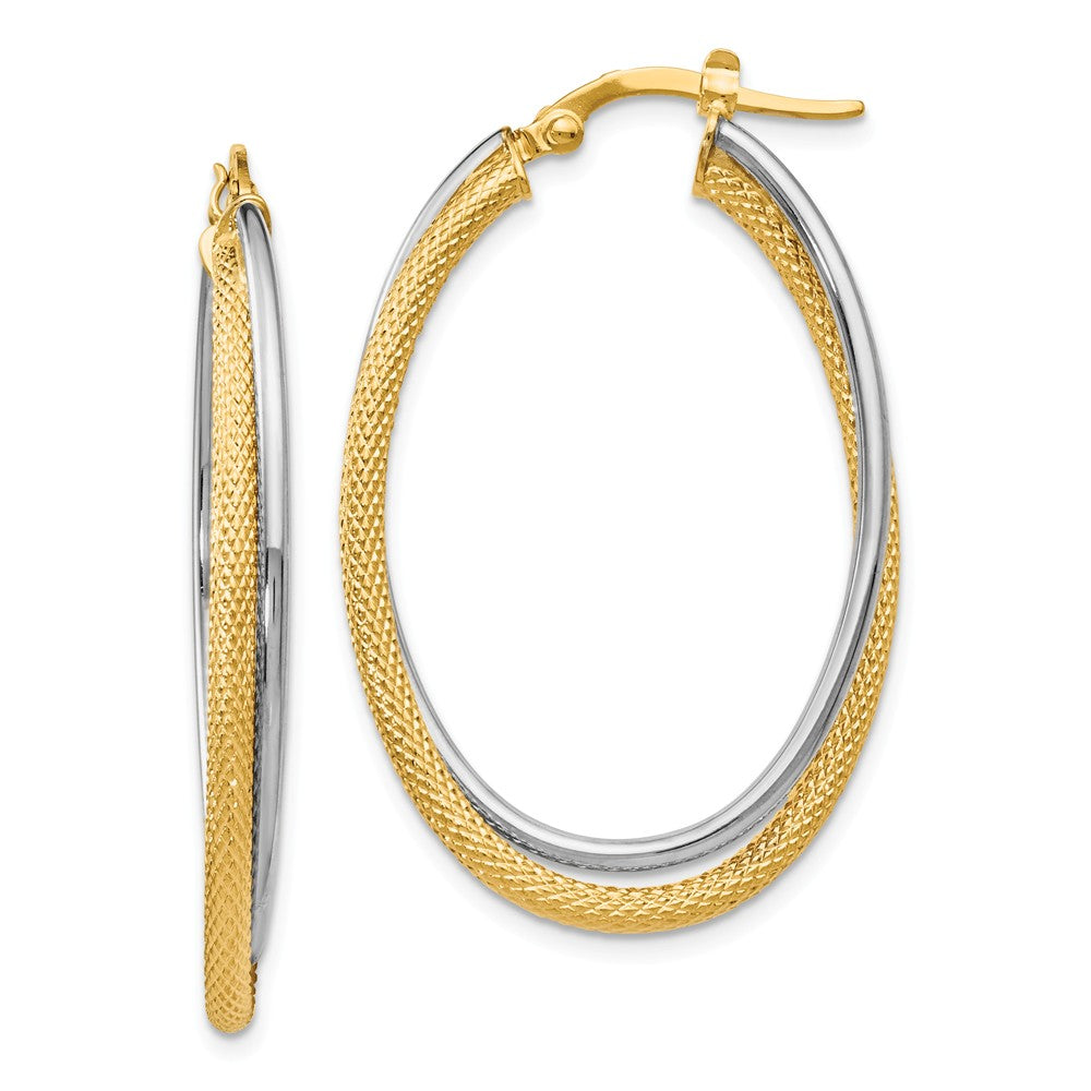 3.5mm x 39mm (1 1/2 Inch) 14k Two Tone Gold Textured Double Oval Hoops, Item E16533 by The Black Bow Jewelry Co.