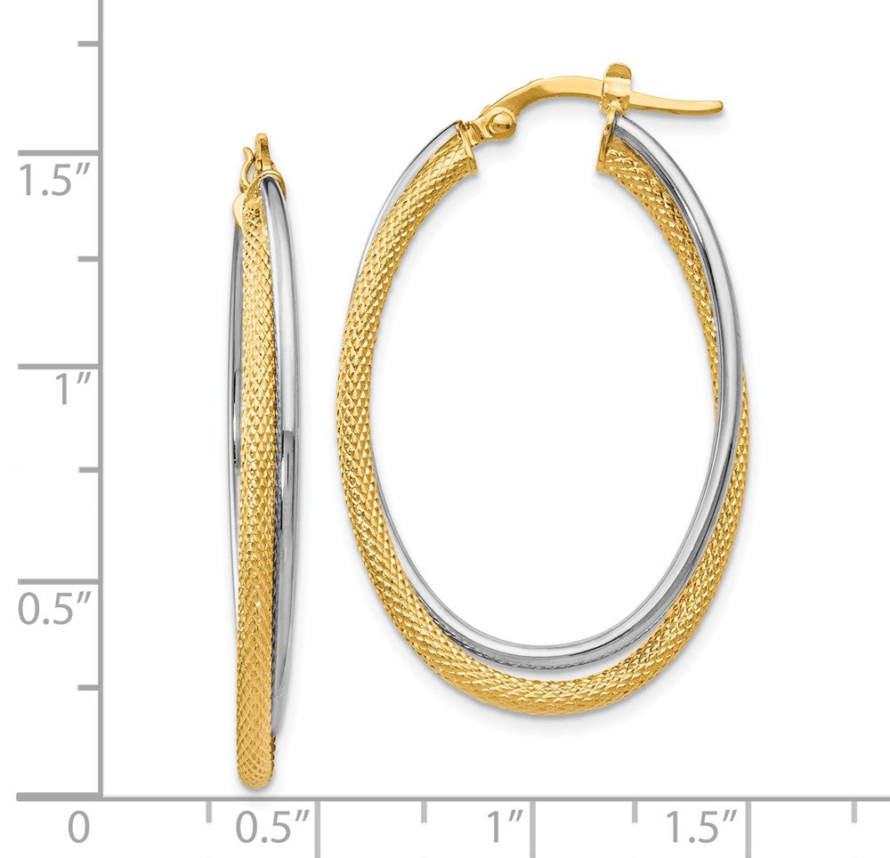 Alternate view of the 3.5mm x 39mm (1 1/2 Inch) 14k Two Tone Gold Textured Double Oval Hoops by The Black Bow Jewelry Co.