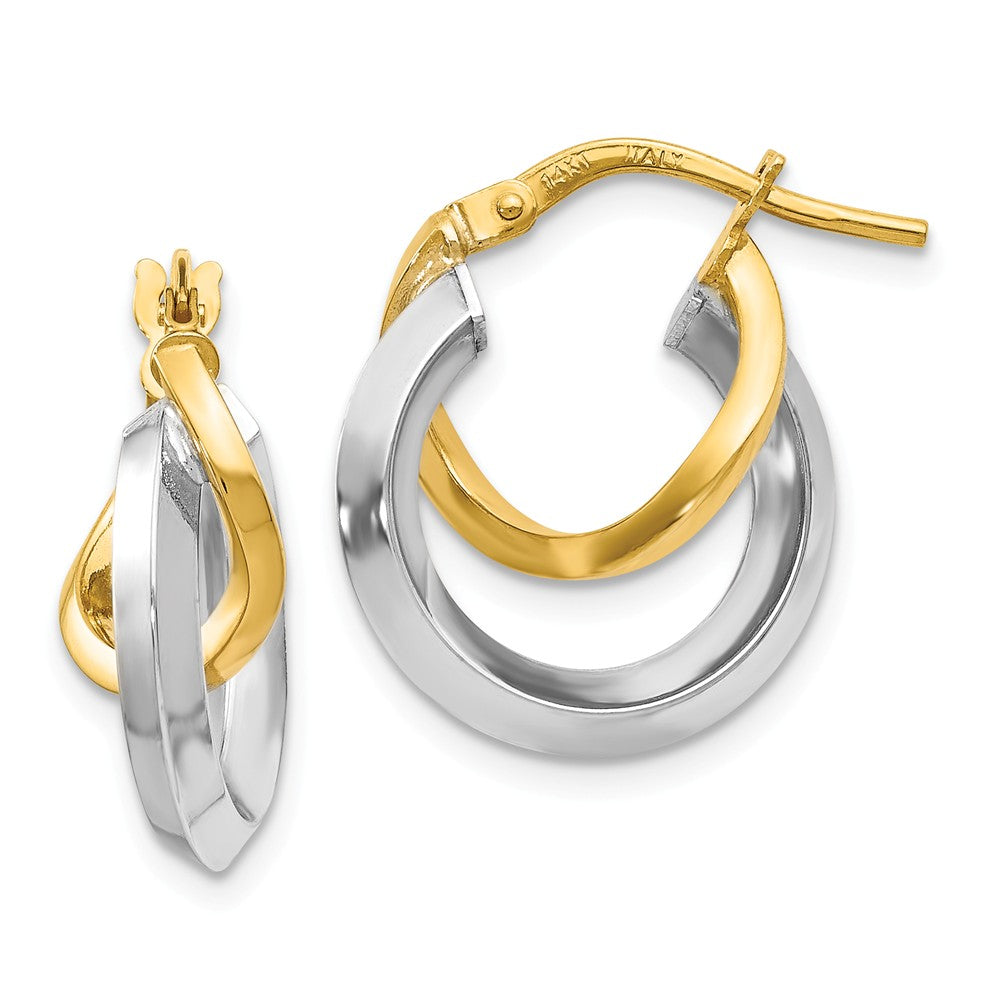 16mm (5/8 Inch) 14k Two Tone Gold Polished Double Round Hoop Earrings, Item E16539 by The Black Bow Jewelry Co.